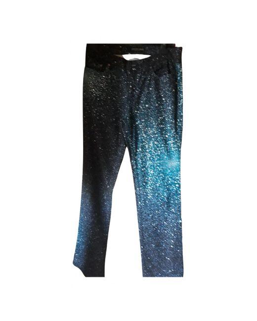 Roberto Cavalli Blue Cotton Trousers