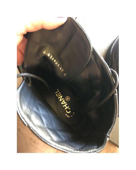 Botas de Cuero Chanel de color Black
