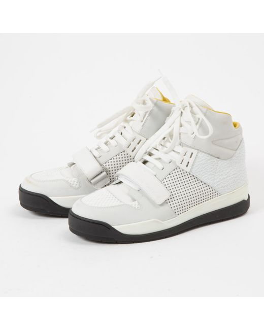 c93e1bc2a101 ... Louis Vuitton - White Leather Trainers - Lyst ...