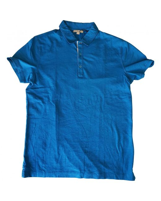 Burberry - Blue Cotton Polo Shirts for Men - Lyst