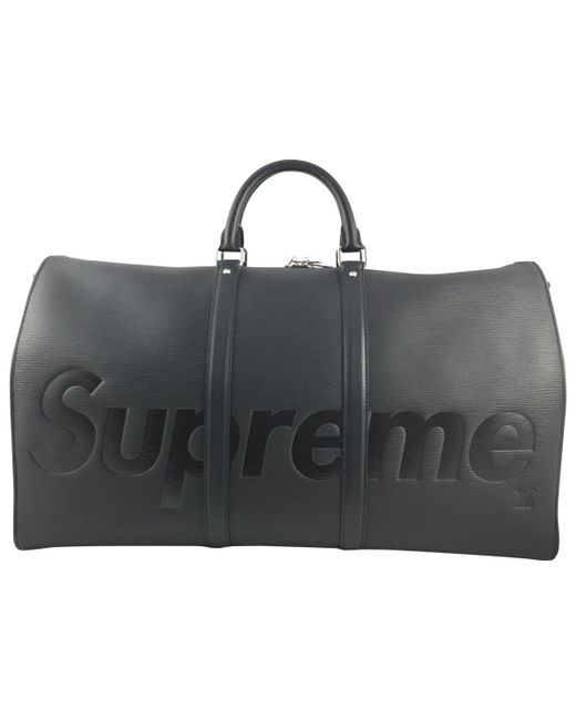 Supreme - Black Pre-owned Leather Weekend Bag for Men - Lyst