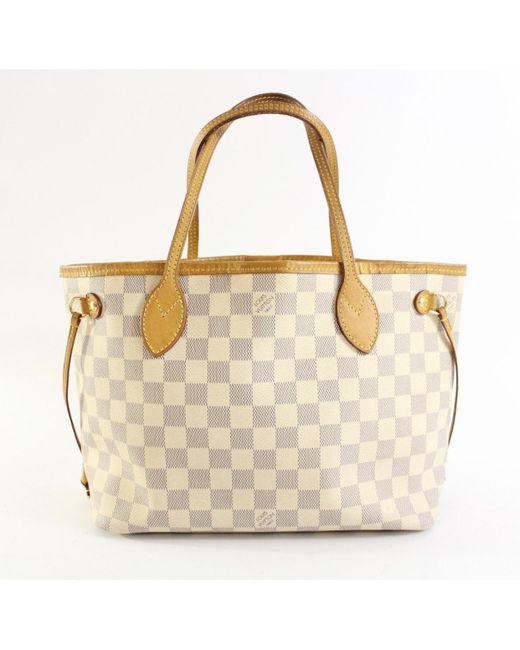 4e57f19ddc4e Louis Vuitton Neverfull White Cloth Handbag in White - Lyst