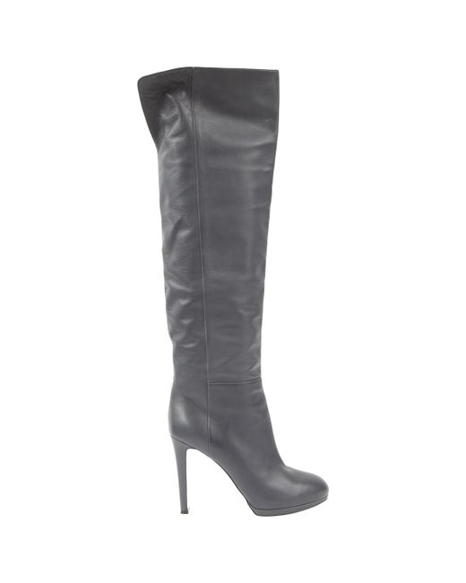 Sergio Rossi - Gray Grey Leather Boots - Lyst