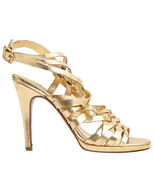 a99fc5dbcb6 Diane von Furstenberg - Metallic Gold Leather Sandals - Lyst ...
