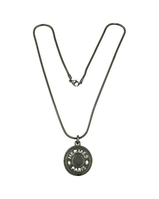 Hermès Metallic Clou De Selle Silver Metal Necklace
