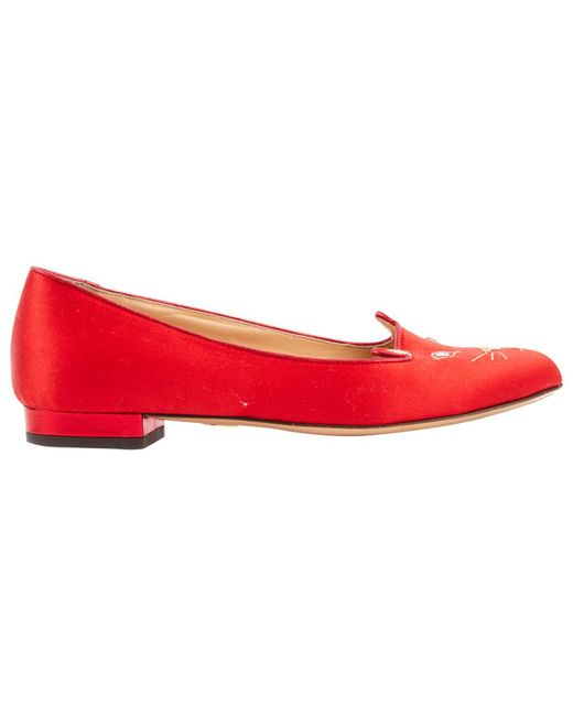 Charlotte Olympia - Red Cloth Flats - Lyst