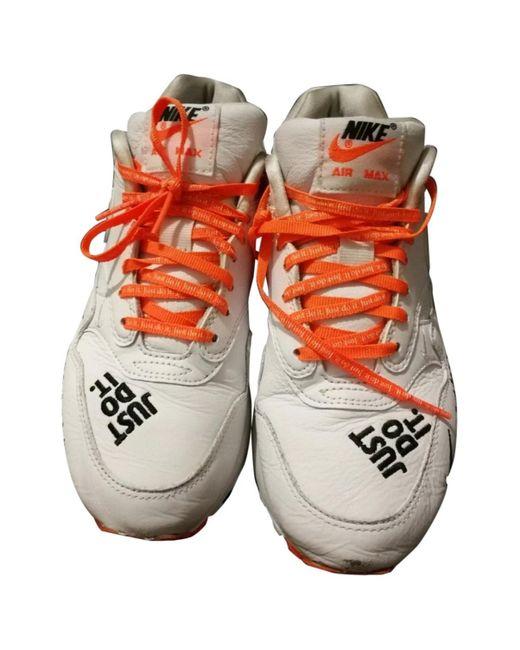 Nike Deportivas Air Max 1 de Cuero de mujer de color blanco