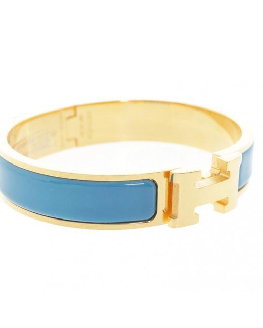 Hermès - Pre-owned Clic H Blue Metal Bracelets - Lyst
