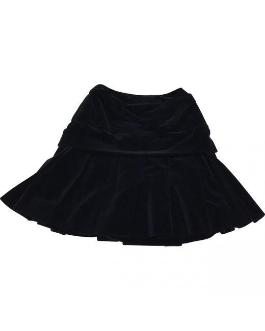 Chanel - Pre-owned Vintage Black Velvet Skirt - Lyst