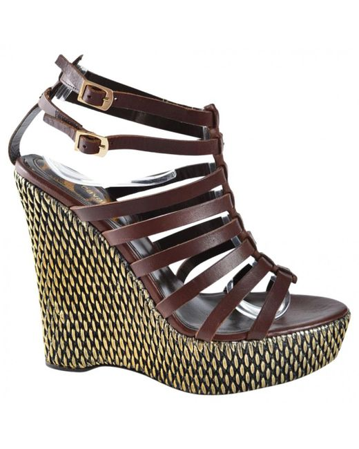 Roberto Cavalli - Brown Pre-owned Leather Sandals - Lyst
