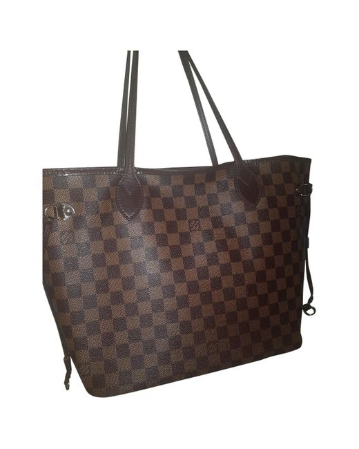 Louis Vuitton Brown Neverfull Cloth Handbag