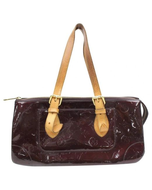 Louis Vuitton Purple Burgundy Patent Leather Handbag