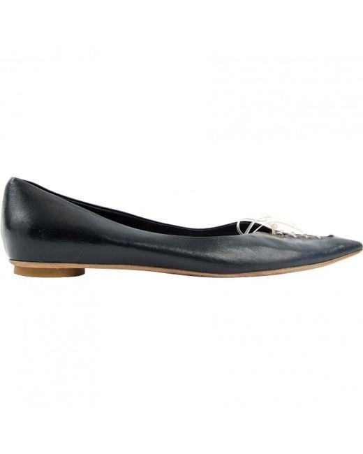 Jil Sander - Black Leather Flats - Lyst