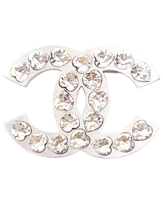Chanel - Metallic Silver Metal Pins & Brooches - Lyst