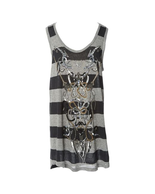 Balmain - Gray Pre-owned Grey Cotton Tops - Lyst