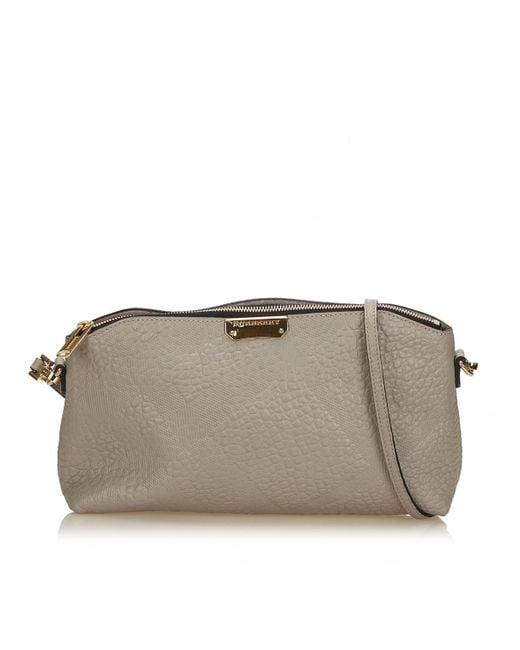 Burberry - Gray Grey Leather Handbag - Lyst