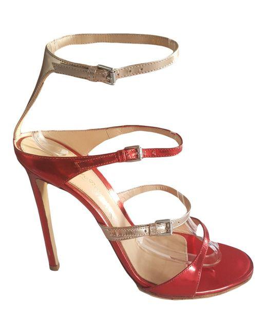 Gianvito Rossi Sandalias de Cuero de mujer de color rojo
