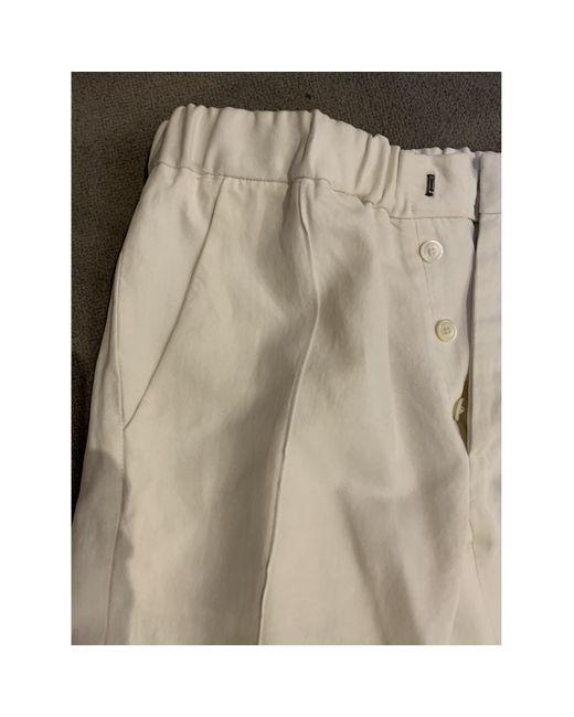 Marni Pantalons en Lin Blanc femme