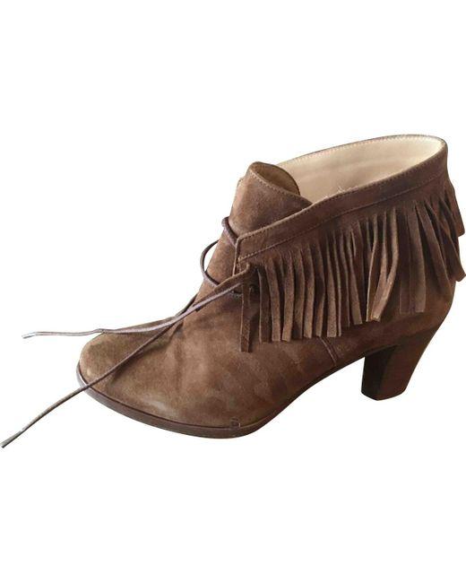 Sezane Botas con cordones de mujer de color marrón