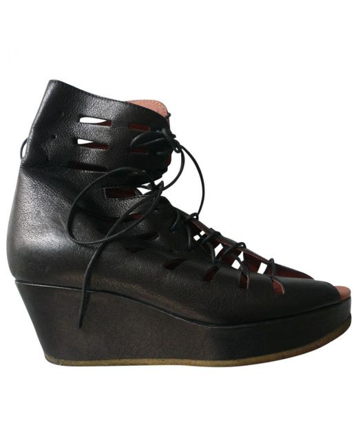 Acne - Black Leather Ankle Boot - Lyst