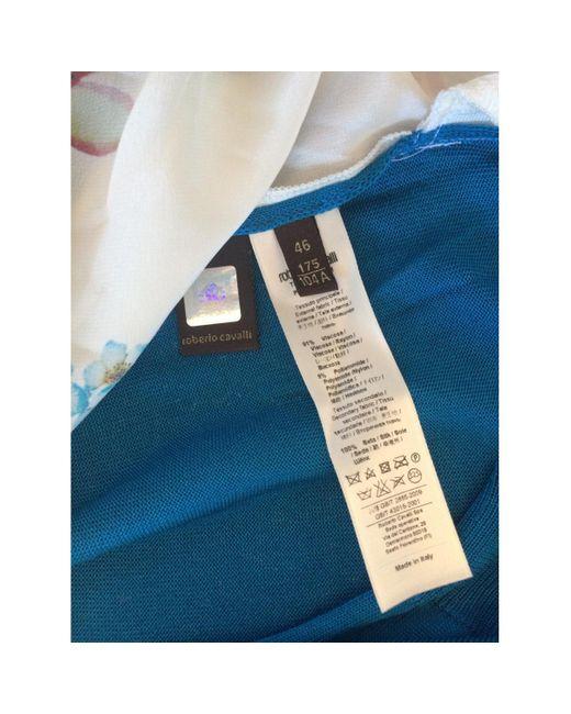 Roberto Cavalli Blue Multicolour Viscose Knitwear