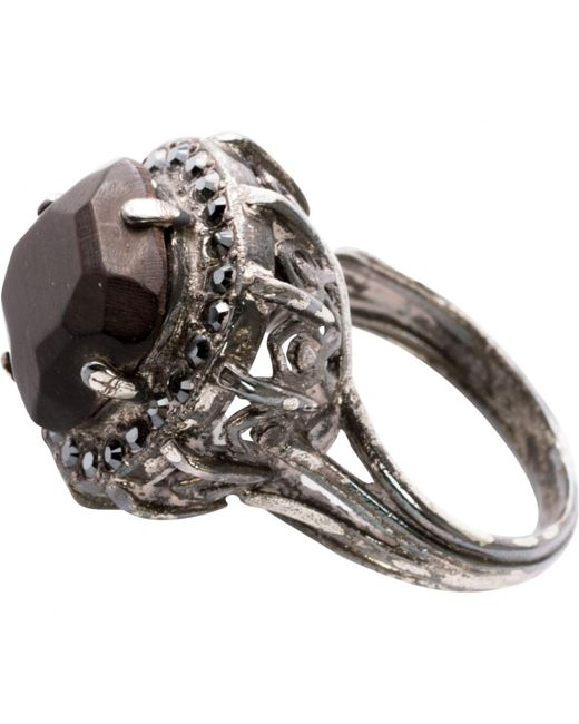 Lanvin - Black Metal Ring - Lyst