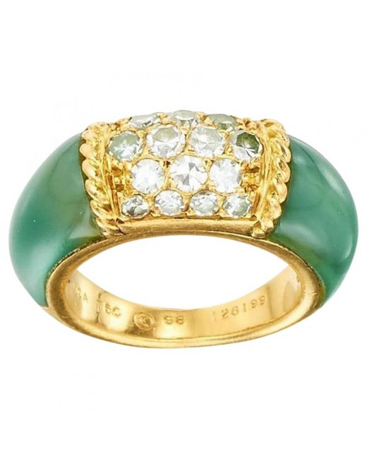 Van Cleef & Arpels - Pre-owned Vintage Philippine Green Yellow Gold Ring - Lyst