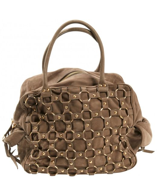 Dior - Brown Leather Bowling Bag - Lyst