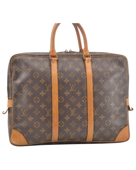 Louis Vuitton Porte Documents Voyage Brown Cloth Bag for men