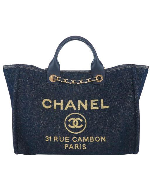 Chanel Blue Deauville Navy Cloth Handbag