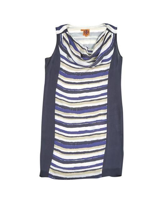 Tory Burch - Blue Silk Mini-dress - Lyst
