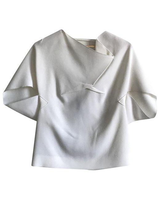 Roland Mouret Camiseta de mujer de color blanco