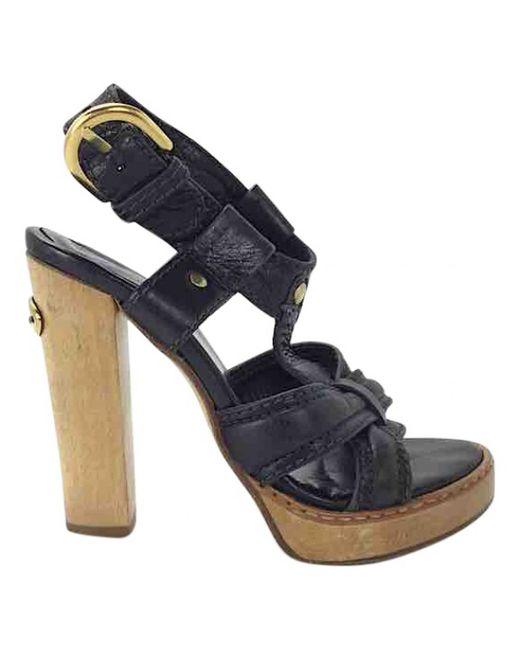 Chloé - Black Leather Sandals - Lyst