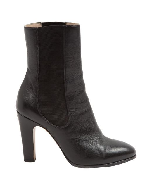 Chanel - Black Pre-owned Leather Ankle Boots - Lyst