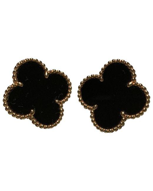 Van Cleef & Arpels - Black Pre-owned Magic Alhambra Yellow Gold Earrings - Lyst