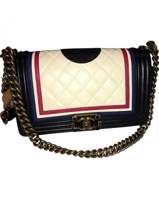Chanel - Boy White Leather Handbag - Lyst