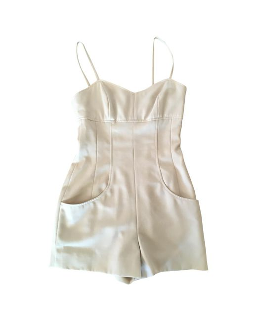 Chanel - Natural Pre-owned Vintage Beige Wool Jumpsuits - Lyst