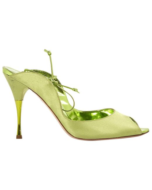 Sergio Rossi Green Leather Sandals