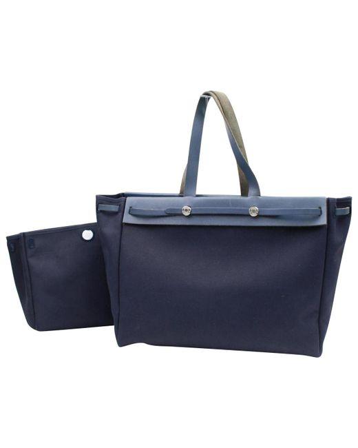 Hermès - Blue Pre-owned Vintage Herbag Navy Cotton Handbag - Lyst