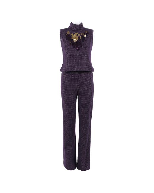Chanel - Pre-owned Vintage Purple Wool Jumpsuits - Lyst