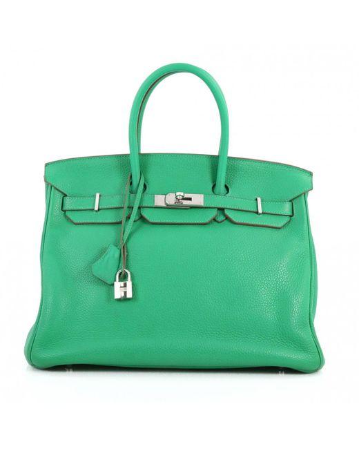83c411813797 Hermès Birkin 35 Green Leather Handbag in Green - Lyst