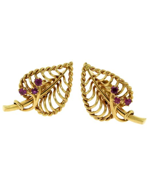 Cartier - Metallic Pre-owned Vintage Multicolour Yellow Gold Earrings - Lyst