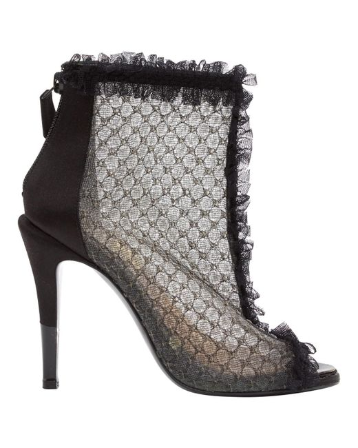 Chanel - Black Cloth Ankle Boots - Lyst