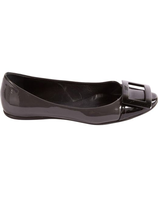 Roger Vivier - Gray Pre-owned Patent Leather Ballet Flats - Lyst
