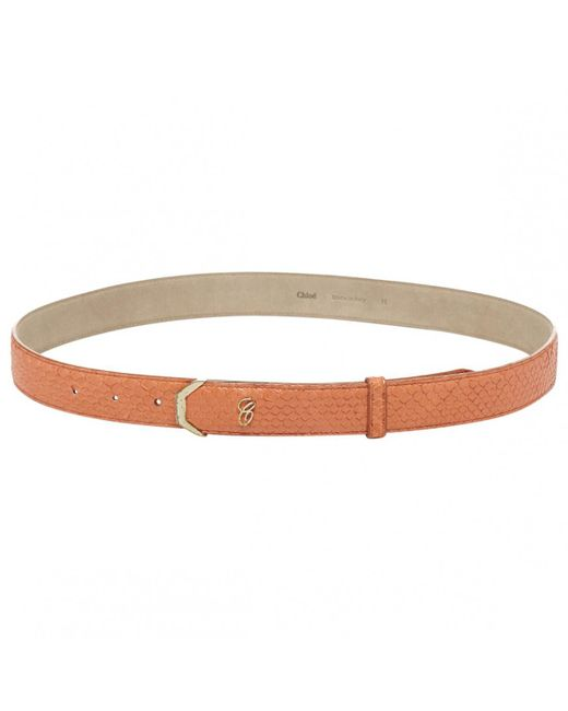Chloé - Pre-owned Orange Exotic Leathers Belt - Lyst
