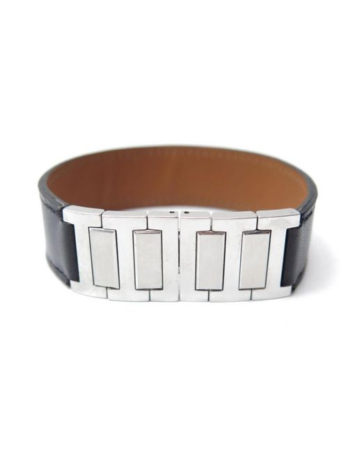 Hermès - Black Pre-owned Leather Bracelet - Lyst