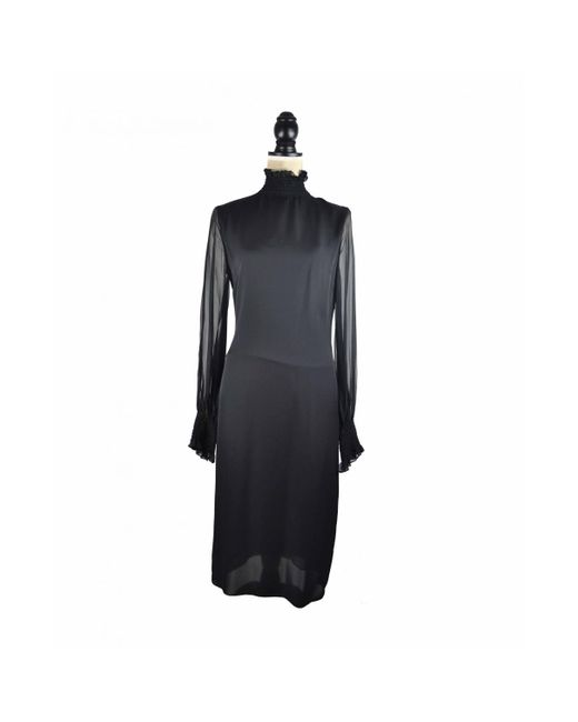 Tamara Mellon Black Seide Midi kleid