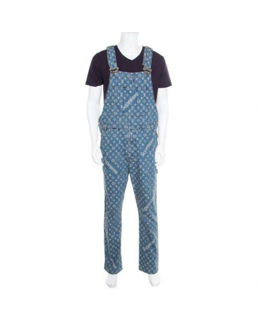 Louis Vuitton Blue X Supreme Indigo Monogram Jacquard Denim Overalls S for men