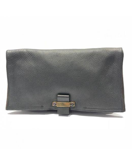 Lanvin - Gray Grey Leather Clutch Bag - Lyst