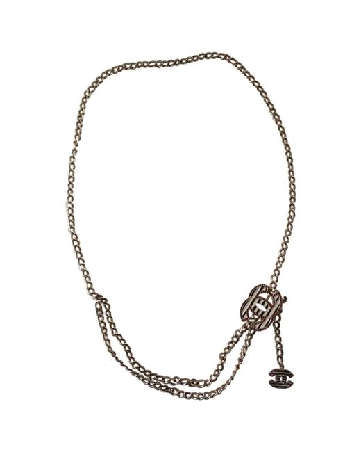 Chanel - Metallic Gold Metal Long Necklace - Lyst